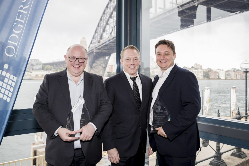 From left to right: Simon Bligh: CEO at Dun & Bradstreet (ANZ Chief Data Officer of the Year 2017); David Mathison: CEO of the CDO Club; Clive Dickens: CDO at Seven West Media (ANZ Chief Digital Officer of the Year).